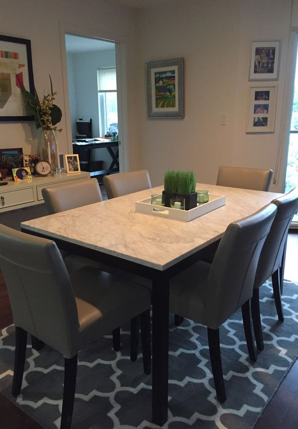 """6 grey leather dining room chairs. 1 dining room table 3""""X5"""" white ..."""