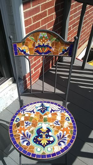 Art project scraps... Mosaic raught iron table and chairs