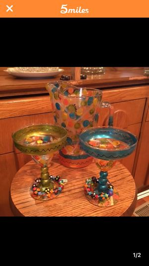 Hand painted Margarita pitcher and 2 glasses