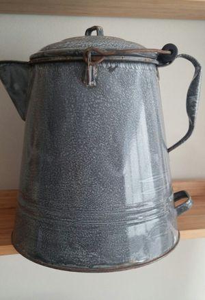 Antique Large Grey Enamel Chuck Wagon/Camping Coffee Pot