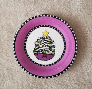 MAC Main street Collection Hand Painted Christmas Tree Plate
