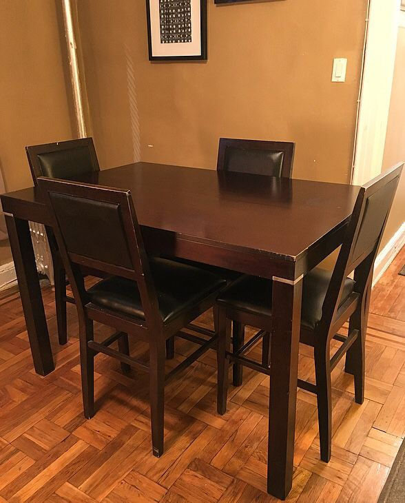 Espresso Wooden Dining Set With Table Extension Seats Up To 8 Furniture In Queens NY