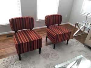 Red Striped Accent Chairs