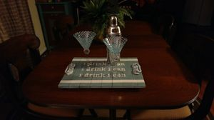 """Green & White """"i drink i can"""" Wooden Hand Painted Serving Tray"""