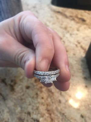 White gold wedding ring and engagement ring set