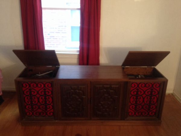▫️Vintage Stereo Console Cabinet W/ Olympic 8 Track Player ...