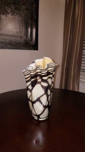 Brown and Cream Colored Glass Vase