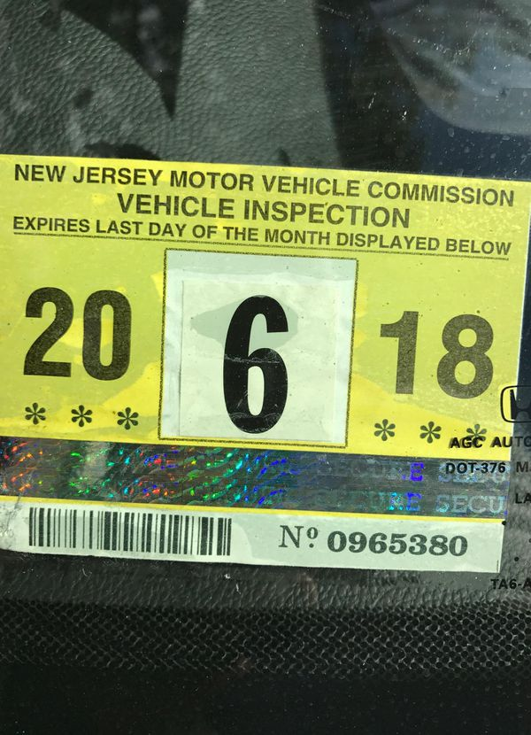 2018 New Jersey inspection sticker