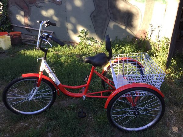 Red Adult Tricycle Bicycle Trike Cruise Bike W Basket Bicycles