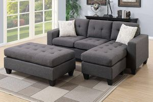 Brand new gray microfiber sectional with ottoman
