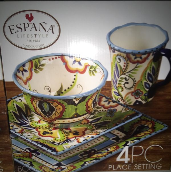 España Lifestyle Bocca Dinnerware 4PC Handcrafted Place Setting ...