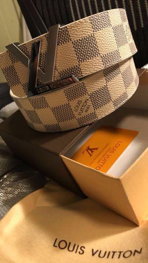 "White Louis Vuitton Belt (32-34"")"