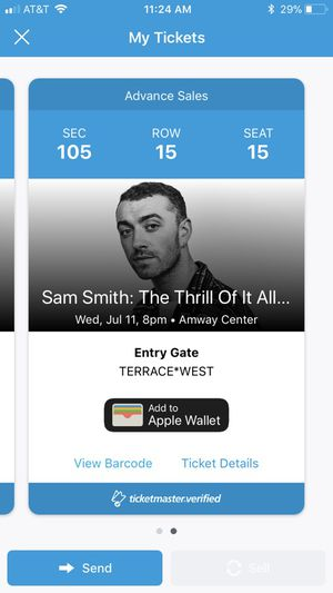 Sam Smith Tickets(x2) in a really close sold out section