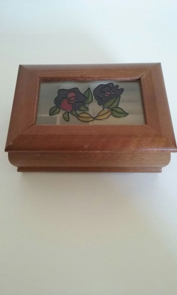 Stained Glass Real Wood Jewelry Box Jewelry Accessories in Palm