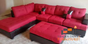 Brand new red blended linen sectional with ottoman