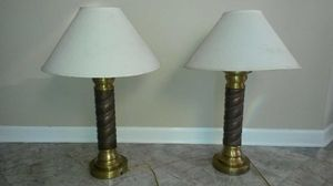 2 solid brass and copper lamps
