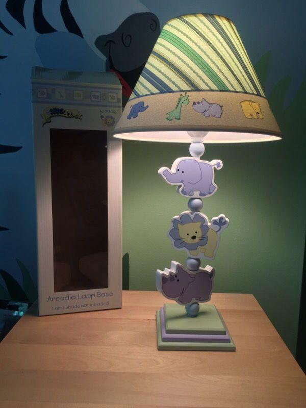 kidsline arcadia jungle zoo safari baby animals lamp nursery rare. Black Bedroom Furniture Sets. Home Design Ideas