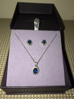 Sterling silver necklace with blue gems COMES W EARRINGS