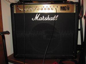 Marshall 100 watt guitar amp big and loud.