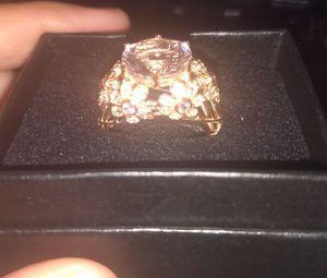 14k Solid Rose Gold Victoria Wiek 6carat Pink Amethyst,Tourmaline, White Topaz Size 7 Ring