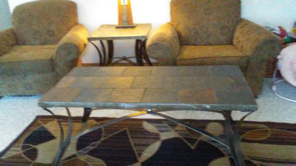 2 tile top metal (coffee table and end table) ( furniture ) in