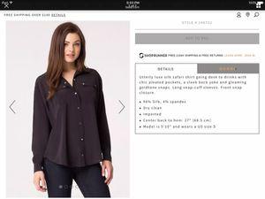 NWOT bebe Black Silk Saffari Shirt sz M