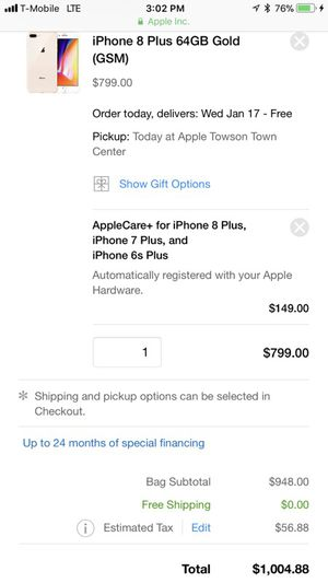 New iPhone 8plus 64gb rose gold T-Mobile (paid off)