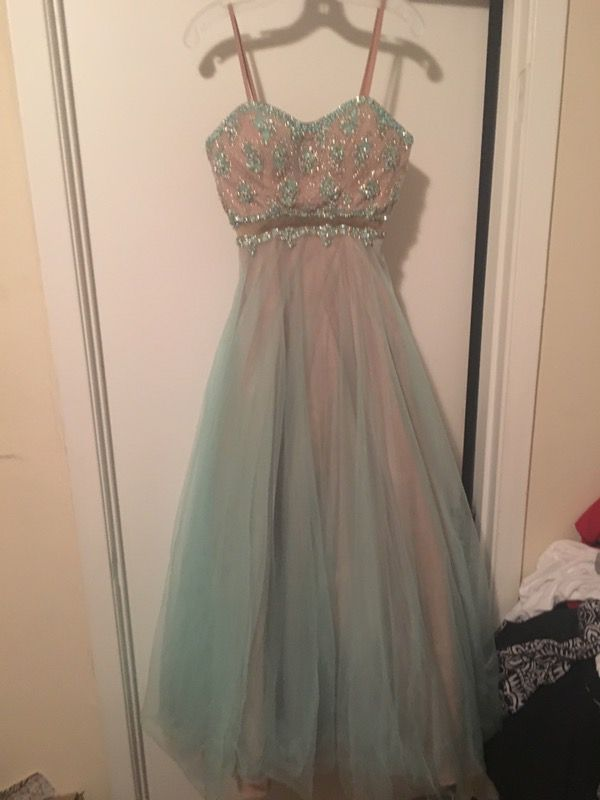 Teal And Champagne Princess Jasmine Prom Ball Gown Clothing