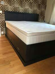Ikea Fjell Black King Size Bed Frame With Drawers Furniture In Houston Tx Offerup