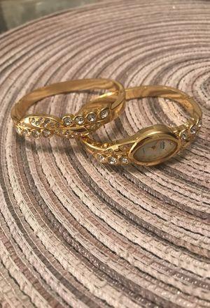 Gold Bracelet & Watch set