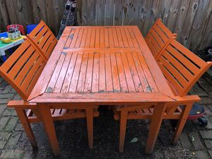 FREE - Wooden Patio Table and Chairs