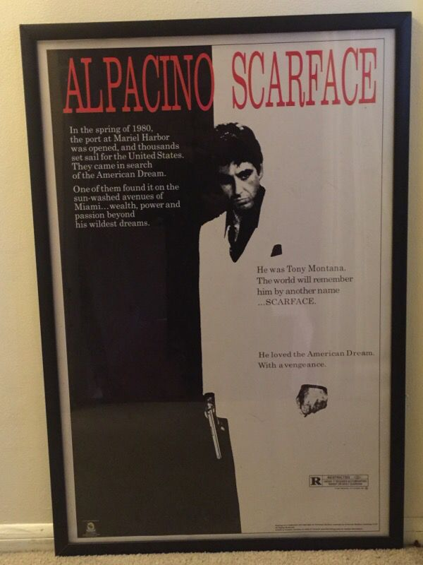 framed scarface poster video equipment in seattle wa