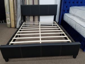 Brand new black or brown color queen size platform bed with queen size new in plastic mattress