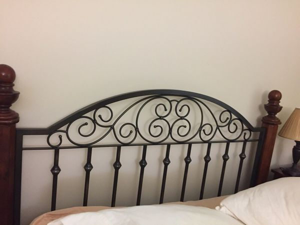 Queen wood and metal scroll bed frame (headboard, footboard and rails) only