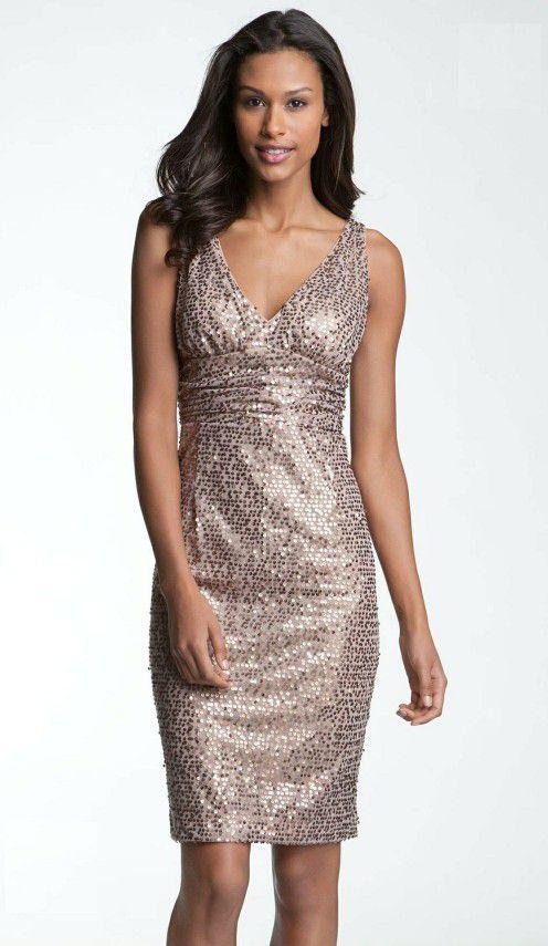 Eliza J. Rose Gold Sequin Cocktail Dress, Size 16 (Clothing & Shoes ...
