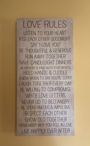 Love Rules wall hanging