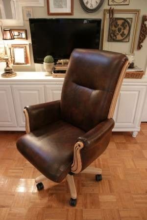 BROWN, GENUINE LEATHER OFFICE CHAIR - ROLLING, ADJUSTABLE, TUFTED