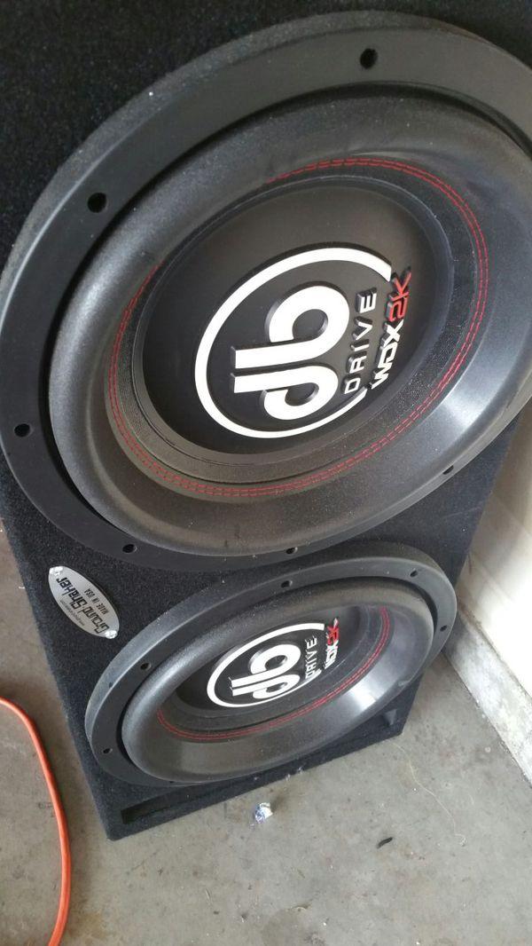 speakers in box. 2 12 in db drive wdx2k subs speakers box o