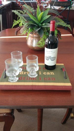 """Wooden Hand Painted """"i drink i can"""" Serving Tray"""