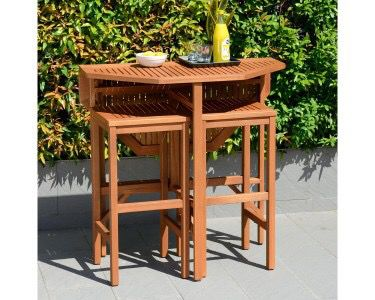 Trinidad Outdoor Dining Table With 2 Barstools
