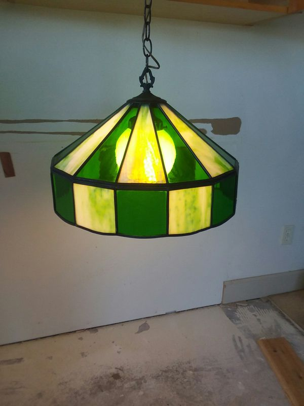 Green and white antique handmade stained glass chandelier antiques green and white antique handmade stained glass chandelier antiques in bonney lake wa aloadofball Gallery