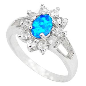 3.84 ctw Natural Australian opal and white topaz 4.27g 925 silver ring size 6.5