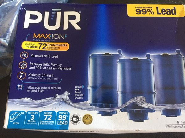 PUR faucet replacement filters (3) w/free faucet filtration system ...