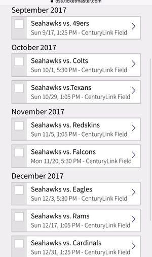 Seahawks tickets $180 each