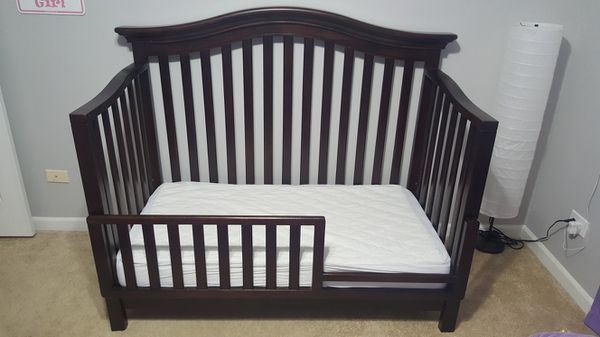 Babi Italia Nursery Bedroom Set Espresso Dark Wood CRIB Toddler RAIL Full Bed Conversion KIT DRESSER Baby Kids In Palatine IL