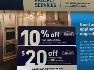 Lowe's coupons exp 9/30