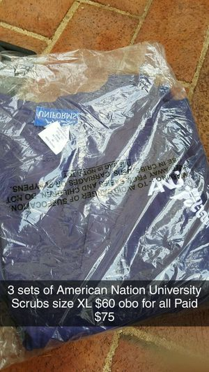 3 Sets of American Nation University Scrubs