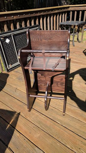 3 in 1 genuine Amish high chair, desk and rocker