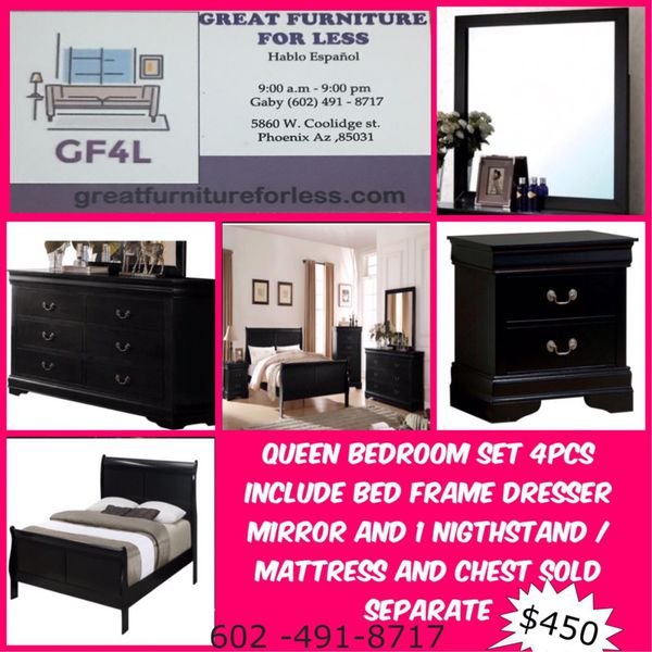 New queen bedroom set include bedframe dresser mirror and 1 ...