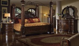 California king canopy bed set